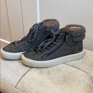 UGG gray Suede shoe boots/ shearling trim zip up